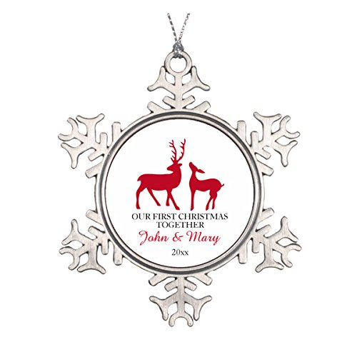 Daily Lady Our First Christmas Together aus, Love Deers Keramik rund Weihnachten Ornament