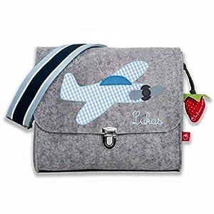 Kindergartentasche Filztasche für Jungs mit Namen & Flugzeug von la fraise rouge