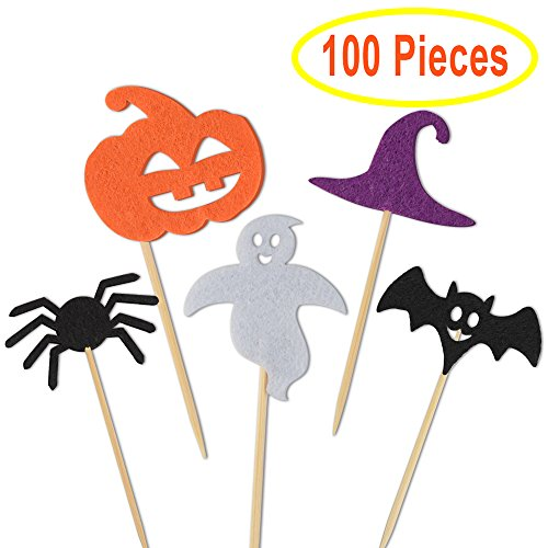 Kuuqa Halloween Party Cupcake Toppers Picks Dekorationen Halloween Mini Kürbis Spider Ghost Hat Fledermäuse für Cupcake Dish Dekoration, 100 (Einfache Dekorationen Cupcakes Halloween)