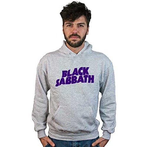 Felpa Black Sabbath, grigia con cappuccio, logo Musica Hard Rock Heavy Metal