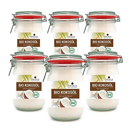 meracus Bio Kokosöl, nativ, im Bügelglas, 6er Pack (6 x 1000 ml) -