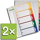 Leitz Register 1291 PC-beschriftbar für DIN A4, farbig/transparent 1-5 (2 Register)