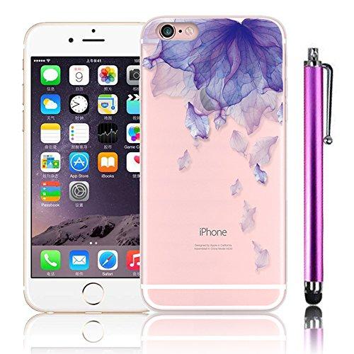 iPhone 6 Cover (4.7 pollice), Bonice iPhone 6S Custodia, 3D Colorato TPU Morbido Crystal Trasparente Ultra Sottile Antiurto Fiore Case + 1 x Penna Tocco Stylus - Porpora