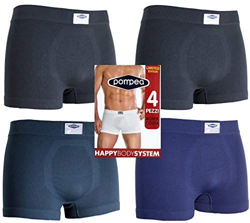 4 boxer uomo POMPEA microfibra assortiti (2 neri,1 antracite,1 blu) (TG.S/M)