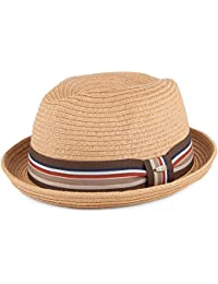Scala Hats Straw Trilby with Striped Band - Toast