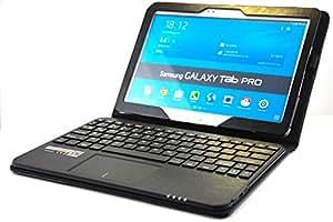 SonnyGoldTech pour Galaxy TabPRO 10.1 - Housse avec clavier et pavé tactile intégré pour Galaxy Tab PRO 10.1 | Etui avec clavier Bluetooth et pavé tactile pour Samsung Galaxy Tab Pro 10.1 SM-T525 | Clavier avec touchpad intégré et pochette pour Galaxy Tab Pro 10.1 SM-T520 | Clavier français (AZERTY) | Noir