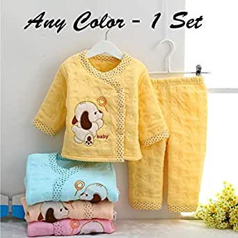 GRAPPLE DEALS Baby Boy's and Baby Girl's Cotton Winter Wear Warm 2 Pieces Shirt and Pyjama Set (Any Color Print, 0-6 Month)