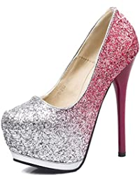 GFONE Women's Ladies Sexy Sequins Platform Pumps High Heel Stiletto Slip On Evening Wedding Shoes Party Club Prom Size
