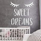 HNXDP Sweet Dreams Citation De Décalque de Mur Enfants Pépinière de Vinyle Stickers Endormi Yeux Sticker Mural Pour Filles Chambres Chambre Décor À La Maison Murale 24 brun 42x42cm