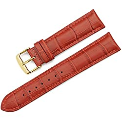 iStrap 19mm Croco Grain Leather Watch Band Padded Gold Tang Buckle Strap for Men Lady Red