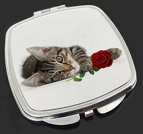 Tabby -Kätzchen-Katze mit roter Rose Make-up Taschenspiegel Weihnachtsgeschenk -