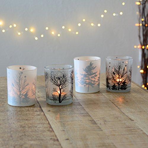 Herbstdeko: Vier große Teelichter aus Milchglas Windlicht candle Kerze Deko Herbst