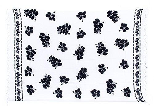 Sarong Pareo Wickelrock Strandtuch Tuch Wickeltuch Handtuch - Blickdicht - ca. 170cm x 110cm - Weiss Schwarz mit Blumen Motiv Handgefertigt inkl. Kokos Schnalle in Herzform (Kokos-schnalle)