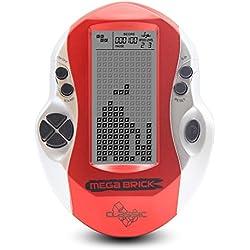 JXD Grand écran Noir et Blanc Console de Jeu Tetris intégré 23 Jeux Jouet Cadeau Cadeau Enfants Ergonomique conçu pour Un Fonctionnement alimenté par Piles 3 * AAA (Non Inclus) (Blue) (Red)