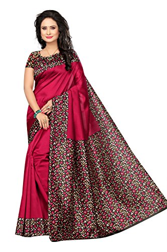 Rangreza Women's Stylish Mysore Kalamkari Silk Raani Floral Printed Saree with Contrast...