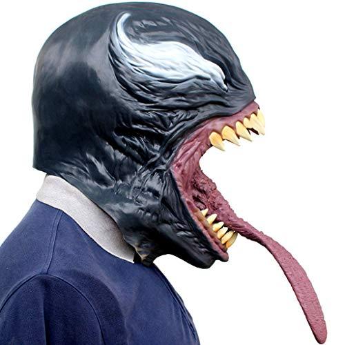 TINGSHOP Venom Mask, Cosplay Deluxe Latex Kostüm Maske Gesicht Latex Kostüm Halloween Prop Scary Mask Toy Halloween Zubehör Schmelzen Gesicht Prop, Maskerade Parteien, Karneval, Ostern, Halloween