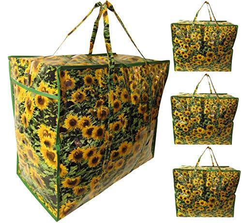(Josephine Osthoff Handtaschen-Manufaktur 4 Stück DONKEY Sonnenblumen Aufbewahrungstasche XXL Tasche Schutzhülle Allzwecktasche groß Tragetasche)
