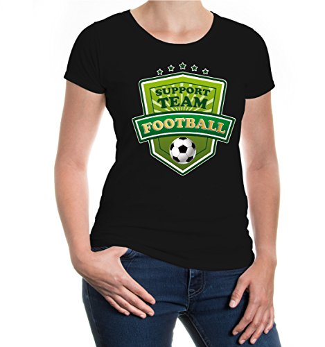 buXsbaum® Girlie T-Shirt Football-Support Team Black-z-direct