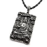 Miss-E-Jewels Halskette mit Anhänger in Form von betendem Buddha aus Edelstahl in Vintage-Stil, Talisman, Medaillon, Amulett, Damen und Herren