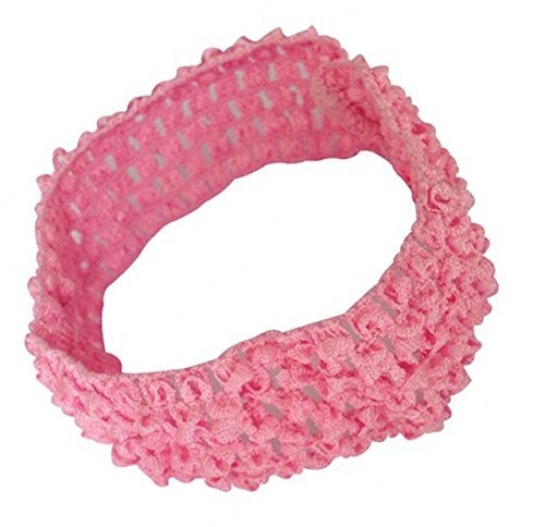 Baby Girl Elastic Crochet Soft Hair Bands pink  available at amazon for Rs.100