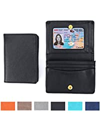 PU de cuero de la tarjeta de crédito titular de la carpeta de la tarjeta de estilo de negocios para los hombres y las mujeres bolsa caso de la vendimia con el ID Ventana LOELMALL