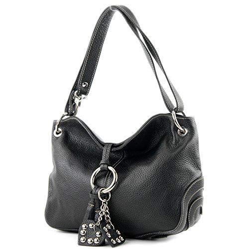 modamoda de - T10 - ital. Schulter-/Umhängetasche aus Leder, Farbe:Schwarz