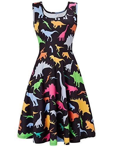 Tanz Kostüm Dinosaurier - uideazone Sommerkleider Damen Dinosaurier Kleid Ärmellos Schulterfrei Rundhals Casual Strandkleid Elegant Abendkleider Knielang Partykleid