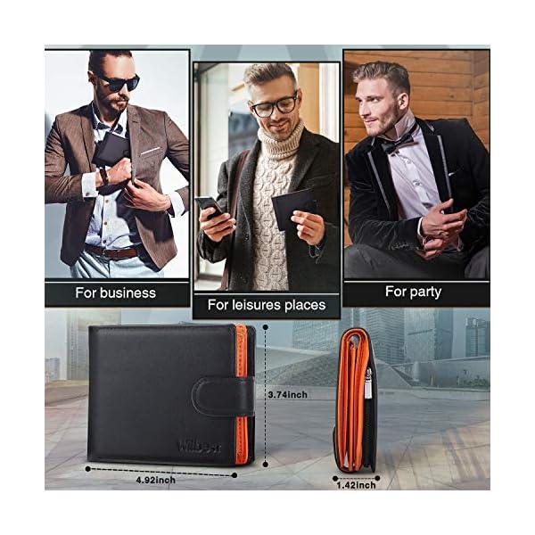 Portafogli Uomo RFID bloccante in pelle con cerniera portamonete e porta banconote e chiusura a bottoni e 17 porta carte… 4 spesavip
