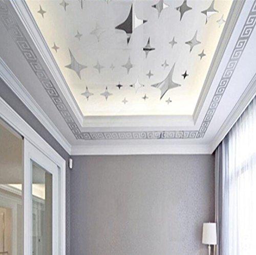 HCFKJ 2017 Mode 10Pcs Diy Moderner Acrylplastikspiegel-Aufkleber Ar-Hall Schlafzimmer (SILBER)