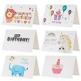 """Kesote Set di 24 Biglietti d'auguri per Compleanno Biglietti di 6 Stili Carini Disegni di Elefante, Leone, Palloncini, Unicorno, Torta e """"Happy Birthday"""" 24 Carte con 24 Buste"""
