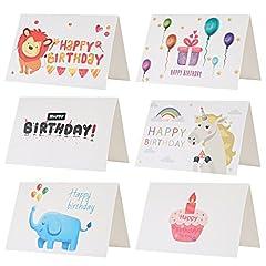 Idea Regalo - Kesote Set di 24 Biglietti d'auguri per Compleanno Biglietti di 6 Stili Carini Disegni di Elefante, Leone, Palloncini, Unicorno, Torta e