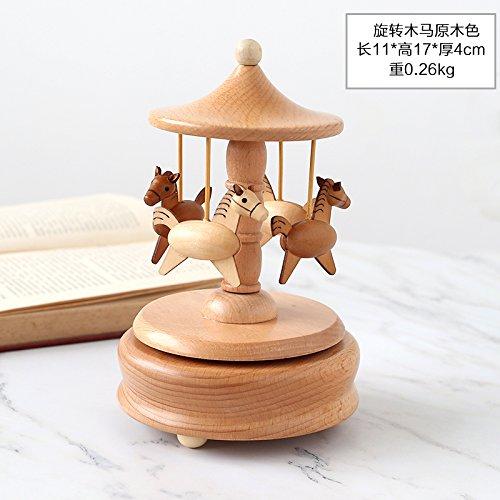 KIKIXI Music Box aus Holz Sky City Girl geburtstag Weihnachtsgeschenke kreative Karussell Ornamente, Merry-go-round