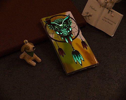 Coque Sony Xperia L1, Sony Xperia L1 Coque Lumineux Silicone Housse Etui, Surakey Ultra Slim TPU Bumper Silicone Housse Téléphone Couverture Coque pour Sony Xperia L1 Lumineuse Fluorescent dans le Noir, HD Coloré Imprimé Motif Souple Housse Étui Protection en Caoutchouc Hybrid Crystal Clair Skin Flex Soft TPU Case Cover avec Absorption de Choc Anti-Scratch Effet Vert Fluorescent Gel Coque pour Sony Xperia L1 (Campanule Chouette)
