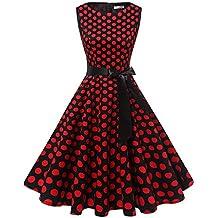 edd79978f4c606 Gardenwed Damen 1950er Vintage Cocktailkleid Rockabilly Retro Schwingen  Kleid Faltenrock
