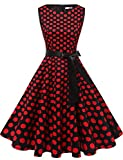 Gardenwed Damen 1950er Vintage Cocktailkleid Rockabilly Retro Schwingen Kleid Faltenrock Black Red Dot XS