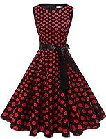 243241d4cef0 Gardenwed Annata 1950 retrò Rockabilly Polka Vestito da Audery Swing Senza  Maniche Abito da Cocktail Partito Black Red DOT XS