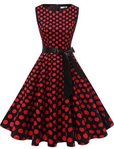 (Gardenwed Damen 1950er Vintage Cocktailkleid Rockabilly Retro Schwingen Kleid Faltenrock Black Red Dot 3XL)