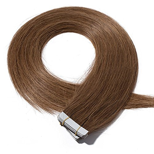 40-55cm extension capelli veri biadesivo estensioni adesive 20 fasce 50g/set 100% remy human hair - tape in hair extension allungamento (45cm #6 castano)