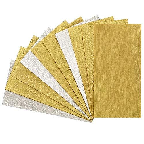 Struktur-Wachsplatten in Gold und Silber | Diverse Prägungen | ca. 20 x 10 cm | 10 Stück