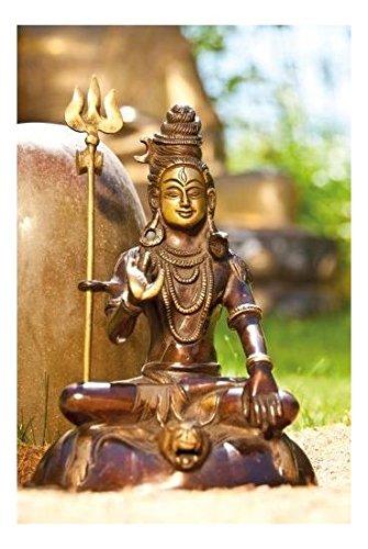 Shiva sitzend mit Trishula messing Figur 18 cm 1,7 kg | indisches Gottheit hinduismus religiöse Statue Herr der drei Welten Gott Dekofigur | Esoterik Geschenke günstig kaufen
