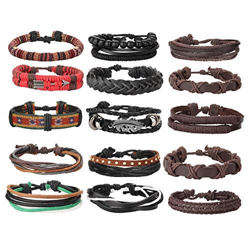 Imagen de milacolato 26 piezas tejidas pulsera de cuero trenzado para hombres mujeres cordones de cáñamo cuentas de madera brazaletes de puño ajustable alternativa