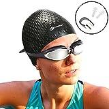 I-Swim Pro Schwimmkappen mit Nasen Clip + Ohrstöpsel - Bequem - Bleibt an Ort und Stelle - Starkes Silikon - Erhöht die Geschwindigkeit - Beste Schwimmkappen zum Schutz langer, dicker oder kurzer Haare.