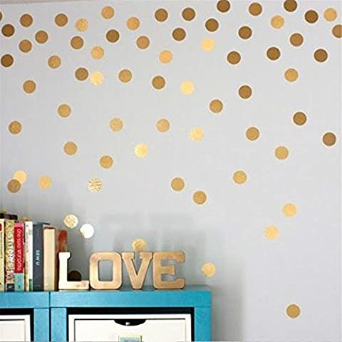 Yanqiao 7cm*35pcs Vinyl Polka Dot Removable Wall Decals,Gold