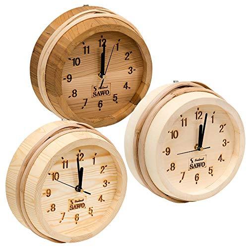 Aspen Holz (Sawo Sauna Holz Uhr Kiefer, Aspen oder Zeder; Größe: Ø 260 mm)