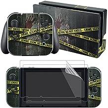 eXtremeRate® Etiquetas Engomadas de la Etiqueta del Crimen de la Pegatina de la Placa Frontal del Sistema Completo Skin Decal Stickers + Protector de la Pantalla 2Pcs para Nintendo Switch