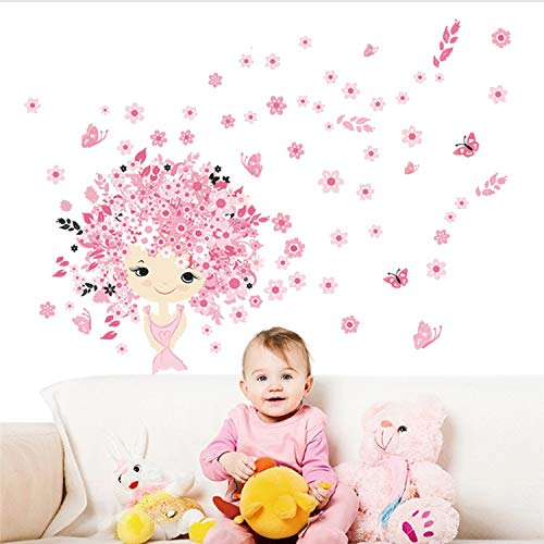 Fairies Girl Flower Butterfly Flowers Wall Stickers for Kids Rooms Art Decal Home Decor Children Girl's Room Wall Decor