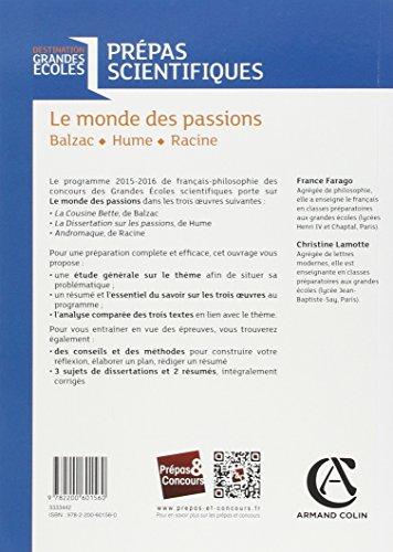 Book's Cover of Le monde des passions - Balzac - Hume - Racine - Prépas scientifiques - Programme 2015-2016
