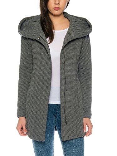 Only Damen-Woll-Mantel onlSedona Link Coat 15144772 Kurz-Mantel Übergang-Jacke, Größe:L, Farbe:Dunkelgrau (Hell Futter Rosa)