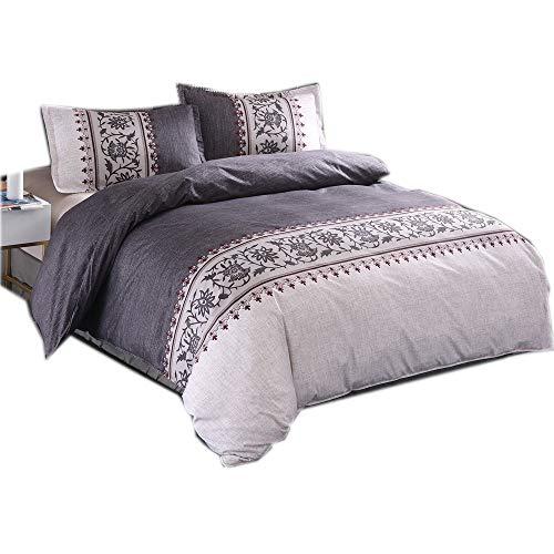 CHAOSE Eleganter Satin Bettwäsche Set,Superweiche Polyester-Baumwolle,3-teilig (1 Bettbezug + 2 Kissenbezüge 48x74cm) (Dunkelgrau, King Size(220x240CM 2.2 M Breites Bett)) -
