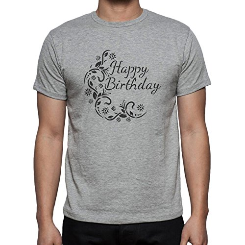 Happy Birthday Wish Swirl Art Nice Beautiful Herren T-Shirt Grau